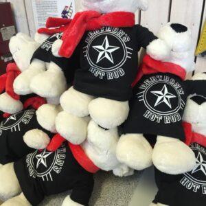 Teddybjörnar med företagslogo på T-shirts.